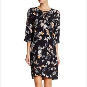 The Kooples Lace Up Butterfly Floral Print Dress